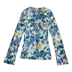 Coconut Girl Y2K Floral Mesh Top M Blue Retro
